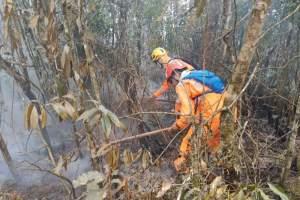 Corpo de Bombeiros Militar de Manhuaçu esteve empenhada na ação conjunta de combate a incêndio florestal que atingi o parque estadual da Serra do Brigadeiro